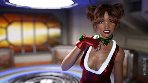 A black girl named Kirabo in an erotic Christmas suit is sitting in a space room