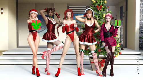 Five girls in sexy Christmas clothes posing at a Christmas tree with gifts